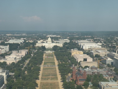 U.S. Capitol Building as Seen From up Inside the Washington Monument