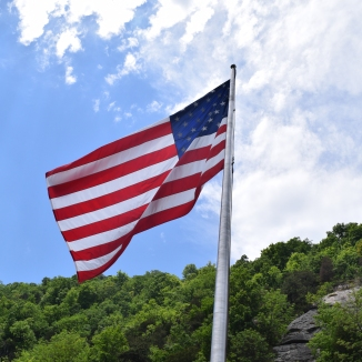 Flag on Top of Chimney Rock