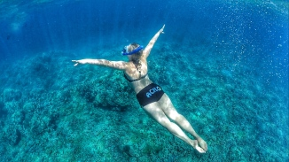 Snorkel at Lanai, Gymnast Pose
