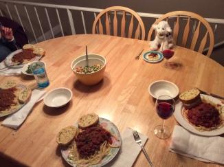 Warm Pasta and Garlic Bread Dinner